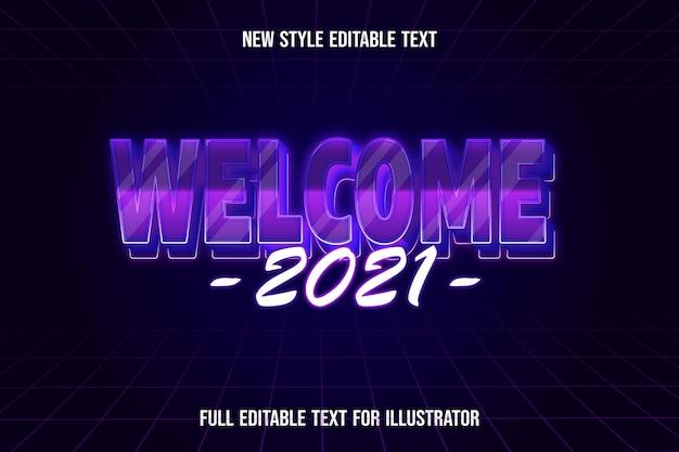 Effet de texte 3d wlecome 2021 dégradé de couleur violet et rose