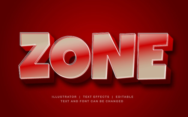 Effet de texte 3d zone rouge