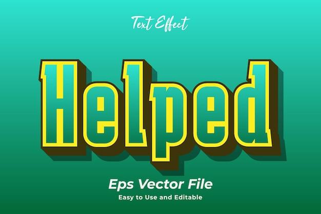 Effet de texte aidé modifiable et facile à utiliser vecteur premium