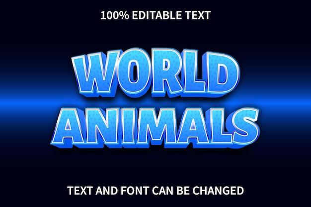 Effet de texte des animaux du monde dans un style moderne
