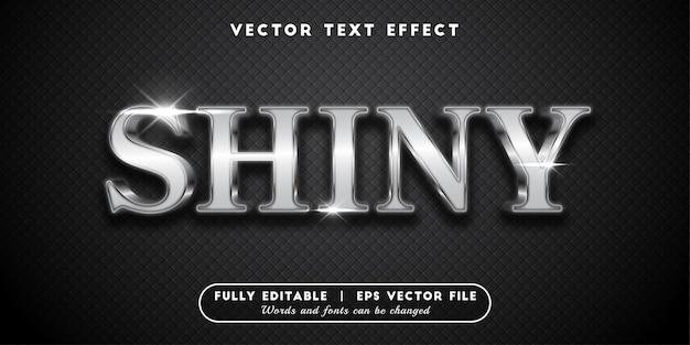 Effet de texte argent brillant, style de texte modifiable