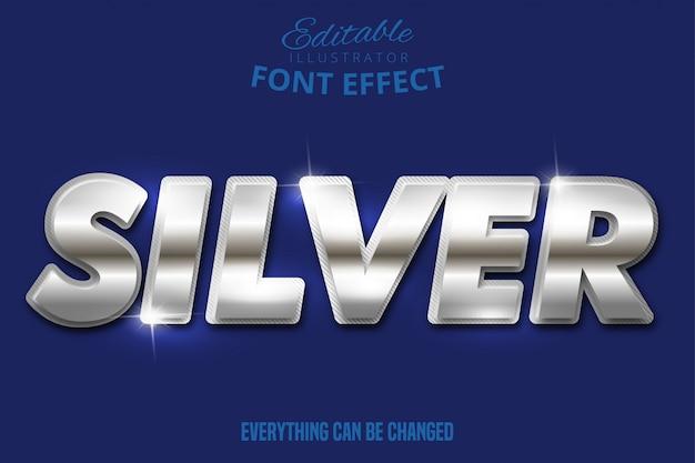 Effet de texte argent métallique, style alphabet argent brillant