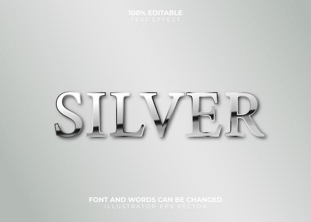 Effet de texte argenté entièrement modifiable argenté blanc brillant