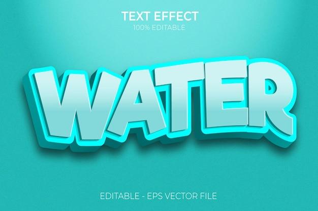 Effet de texte audacieux de l'eau 3d créatif vecteur premium