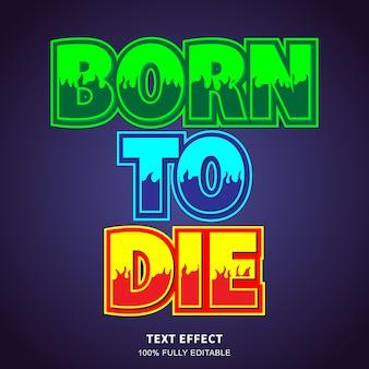 Effet de texte autocollant de feu style trois couleurs, texte modifiable