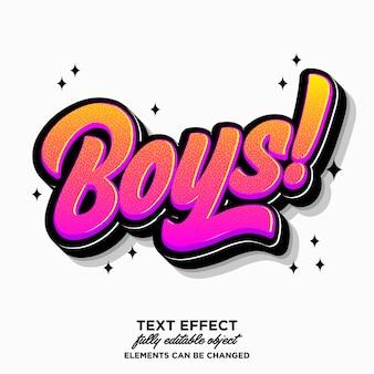 Effet de texte autocollant garçons modifiable