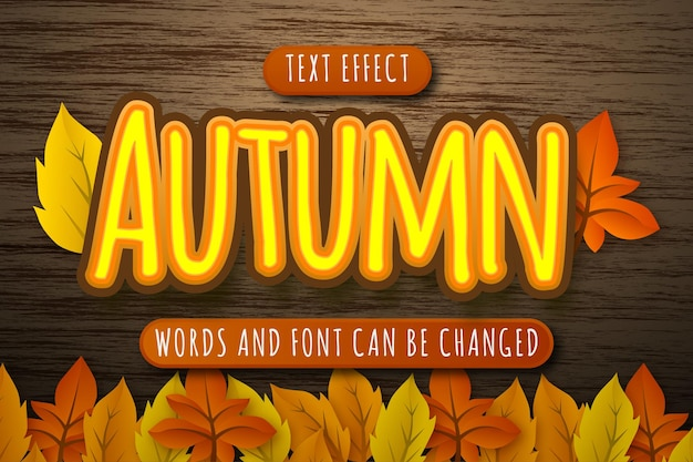 Effet de texte automne avec illustration de feuilles isolées sur fond de bois modifiable eps cc