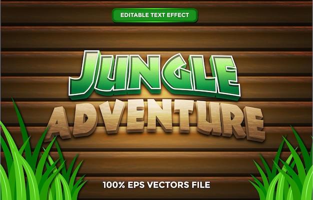 Effet de texte d'aventure dans la jungle, style de texte modifiable de dessin animé et de forêt vecteur premium