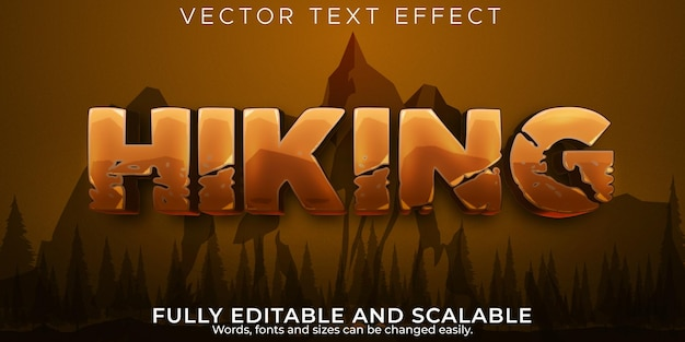 Effet de texte d'aventure de randonnée style de texte de montagne et de trekking modifiable