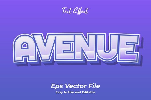 Effet de texte avenue vecteur premium modifiable et facile à utiliser