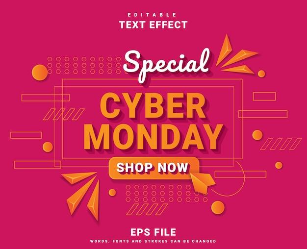 Effet de texte de bannière cyber lundi moderne