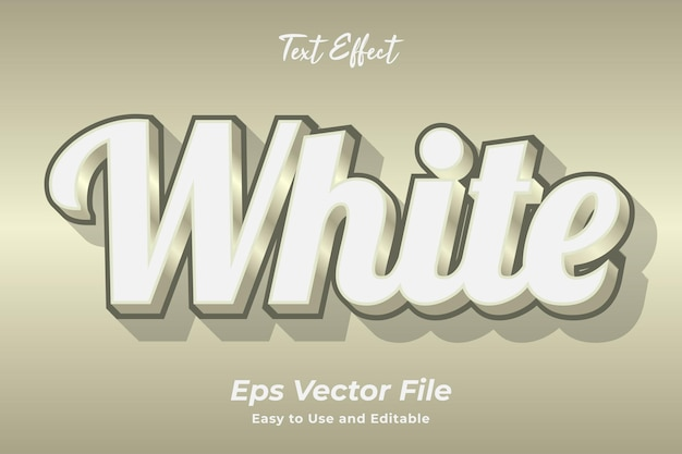 Effet de texte blanc modifiable et facile à utiliser vecteur premium