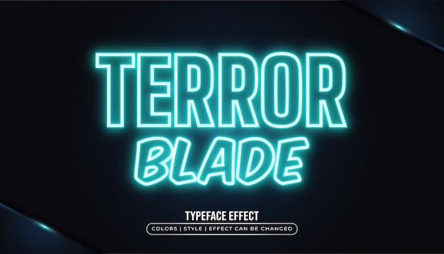 Effet de texte bleu brillant avec néon