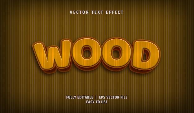Effet de texte en bois 3d, style de texte modifiable