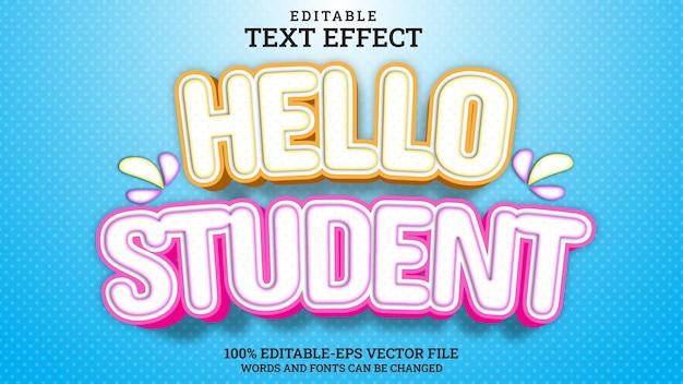Effet de texte bonjour étudiant modifiable
