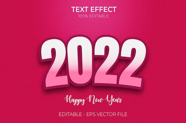 Effet de texte de bonne année 2022 vecteur premium de style de texte gras modifiable en 3d créatif