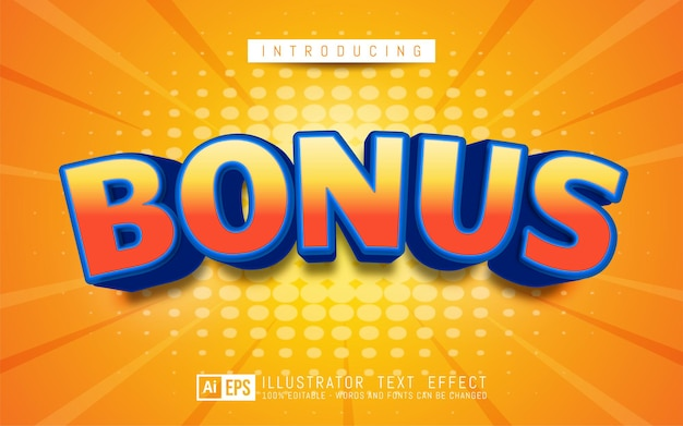 Effet de texte bonus style de texte 3d modifiable adapté à la promotion de la bannière