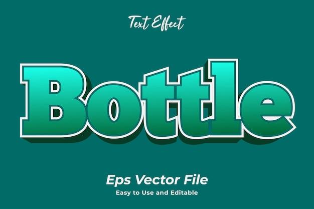 Effet de texte bouteille vecteur premium modifiable et facile à utiliser