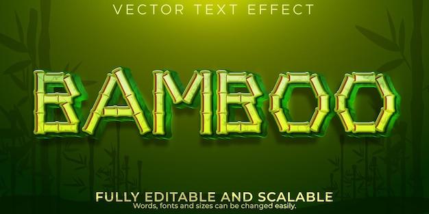 Effet de texte de branche de bambou, style de texte modifiable en asie et en forêt