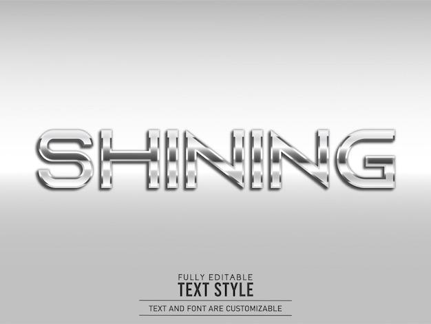 Effet de texte brillant métallique chromé