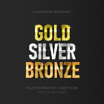 Effet de texte brillant or argent bronze modifiable