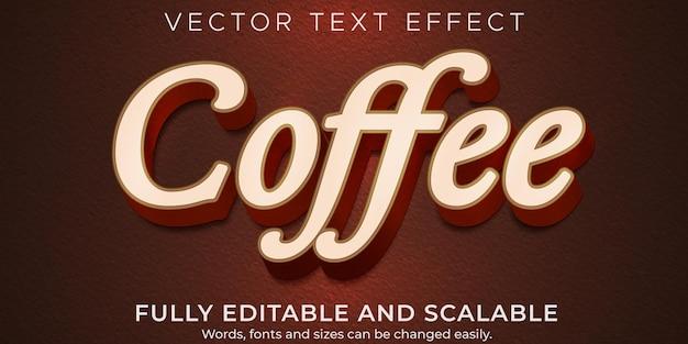 Effet de texte brun café, boisson modifiable et style de texte alimentaire