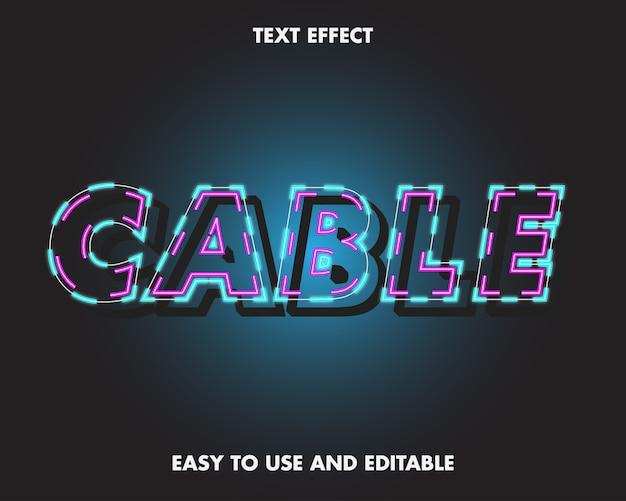 Effet de texte de câble. effet de police modifiable.