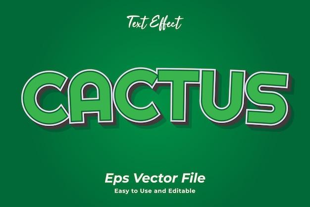 Effet de texte cactus modifiable et facile à utiliser vecteur premium
