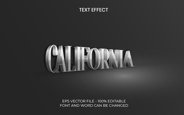 Effet de texte californien style isométrique effet de texte modifiable