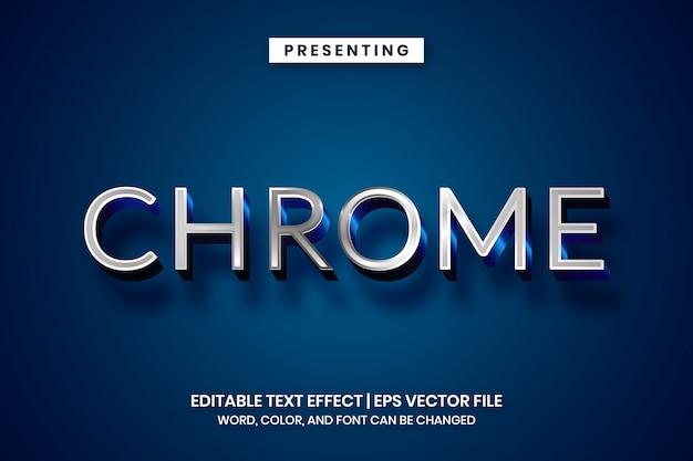 Effet de texte chrome argent métallique brillant
