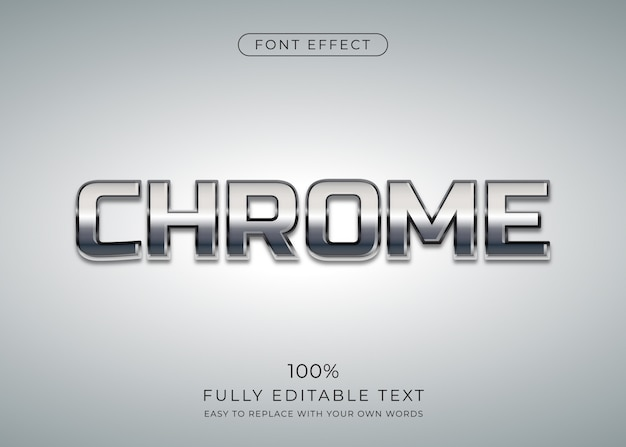 Effet de texte chrome. style de police modifiable