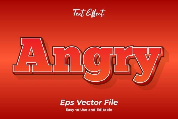 Effet de texte colère modifiable et facile à utiliser vecteur premium