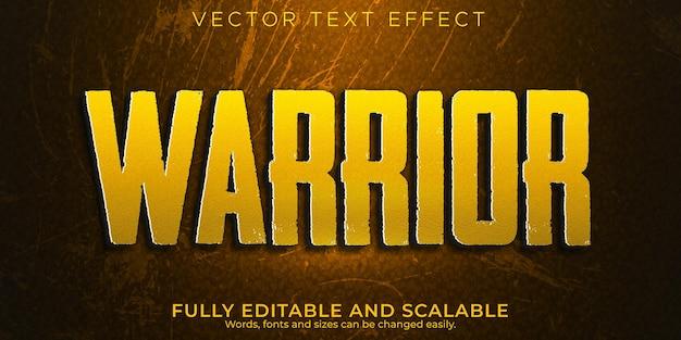 Effet de texte de combat de guerrier; style de texte de jeu et de guerre modifiable
