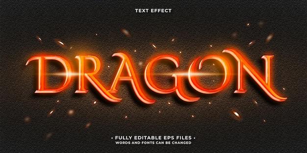 Effet de texte de conte de dragon rouge rougeoyant chaud vecteur eps modifiable