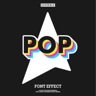 Effet de texte cool pop art sombre avec un design de couleur simple