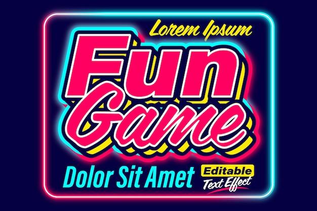 Effet de texte de couleur néon de jeu amusant