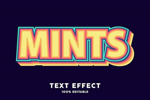Effet de texte de couleur rétro menthes