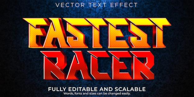 Effet de texte de course de vitesse modifiable style de texte rapide et sportif
