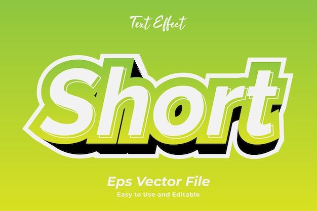 Effet de texte court vecteur premium modifiable et facile à utiliser