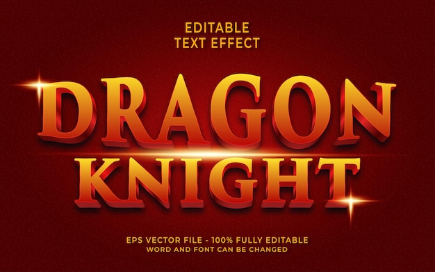 Effet de texte créatif chevalier dragon