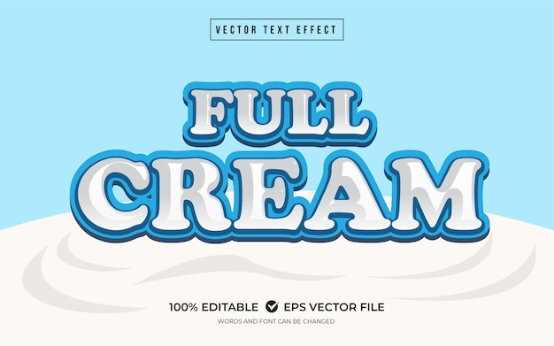 Effet de texte crème complète