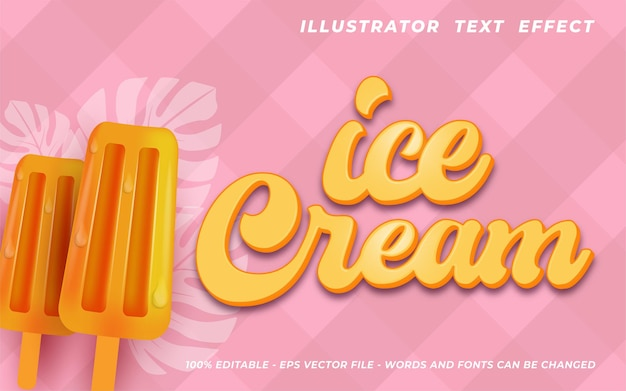 Effet de texte de crème glacée, style de texte 3d modifiable