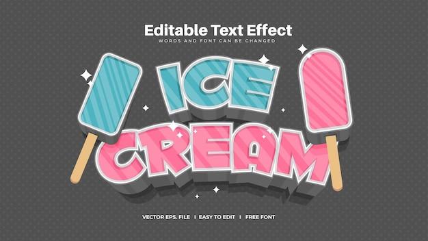 Effet de texte de crème glacée