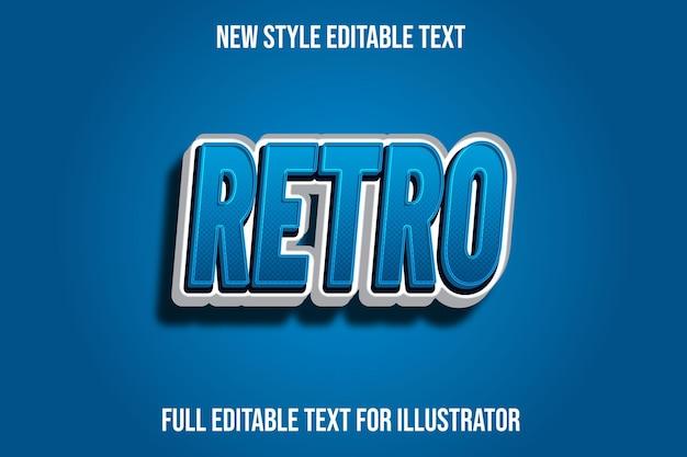 Effet de texte dégradé de couleur rétro 3d bleu et blanc