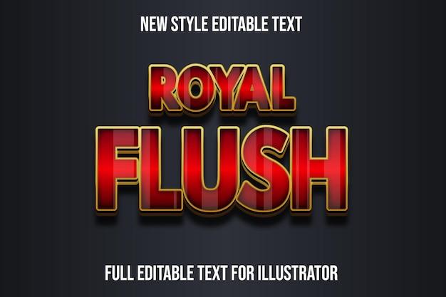 Effet de texte dégradé de couleur rouge et or 3d royal flush
