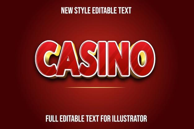 Effet de texte dégradé de couleur rouge et or de casino 3d