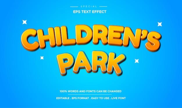 Effet de texte de dessin animé de parc pour enfants modifiable