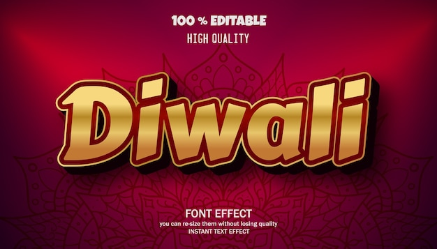 Effet de texte diwali, police modifiable