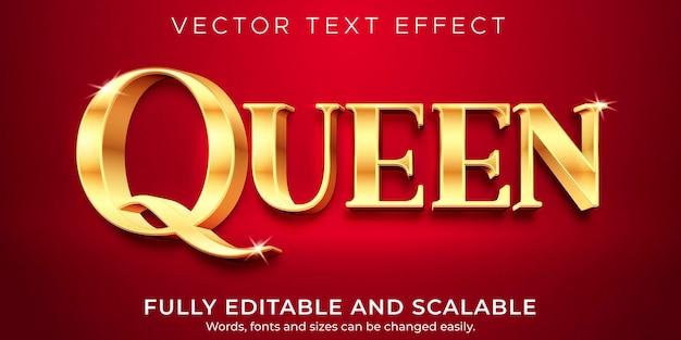 Effet de texte doré queen, style de texte élégant et riche modifiable