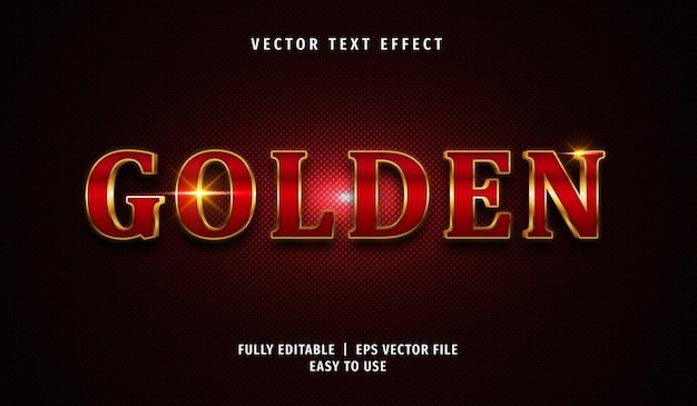 Effet de texte doré rouge 3d, style de texte modifiable